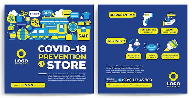 Covid19 promotion feed instagram in flat design style