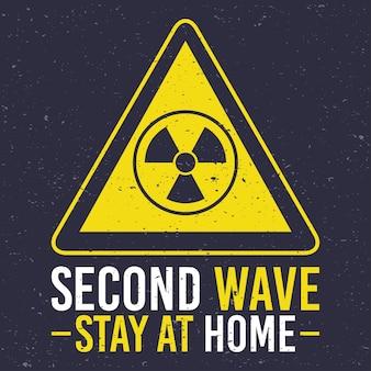 三角形の記号で原子の注意を払ってcovid19第2波キャンペーン