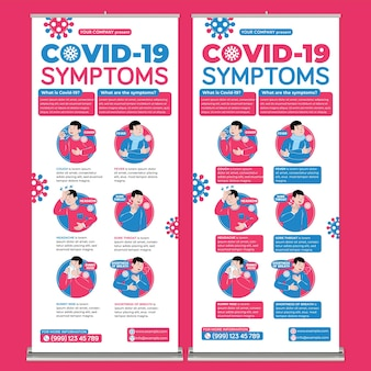 Covid19 symptoms roll up banner print template in flat design style