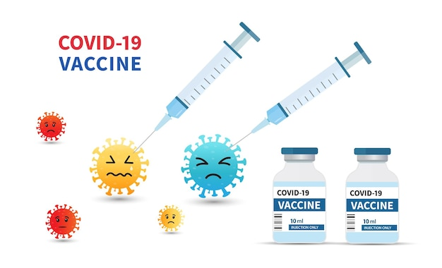 Covid19 vaccine banner background template syringe injection and vaccine bottle