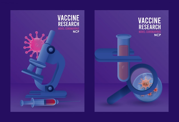 Covid19 vaccine search with microscope and magnifying glass  illustration design
