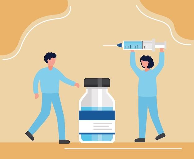 Вакцина covid19 с женщинами-врачами, вводящими инъекции, и дизайн векторной иллюстрации флакона