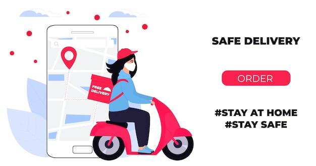 Covid19。市内の検疫。コロナウイルスエピデミック。防護マスクの配達少女は、バイクで食べ物を運ぶ。 webページのデザインテンプレート。家にいる。