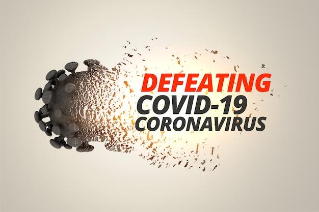 コロナウイルスcovid19コンセプトの背景を打ち破って破壊する