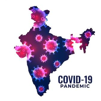 インドのバックグラウンドでのコロナウイルスcovid19の発生