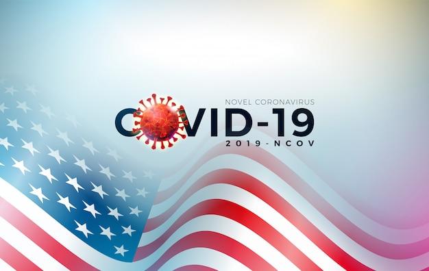 Covid19。ウイルス細胞と国旗を用いた米国デザインのコロナウイルスの発生