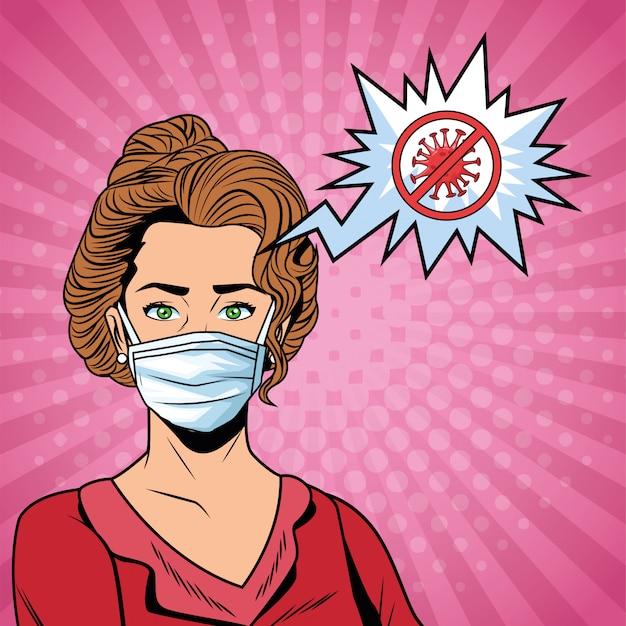 フェイスマスクを使用してcovid19メッセージを停止する女性