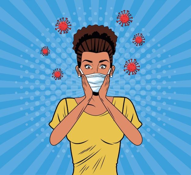 Covid19ポップアートスタイルのフェイスマスクを使用してアフロの女性