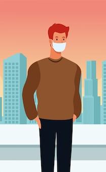 都市のcovid19のフェイスマスクを使用している人