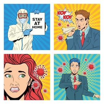 Люди с пандемическими персонажами covid19 в стиле поп-арт