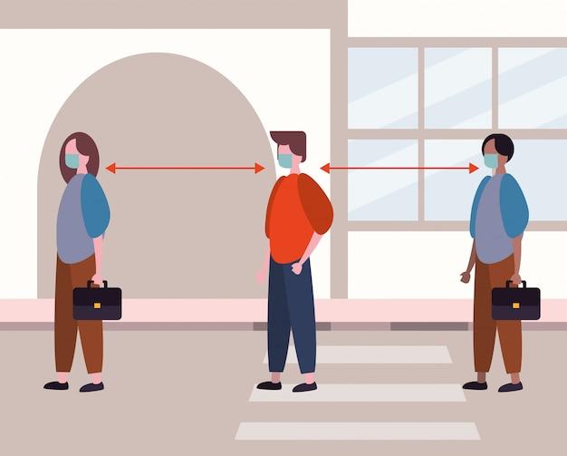 Covid19の社会的距離のあるフェイスマスクを使用している人々