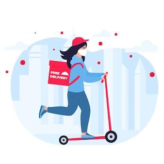 Covid19。市内の検疫。コロナウイルスエピデミック。防護マスクの配達少女は、スクーターに食べ物を運ぶ。送料無料。