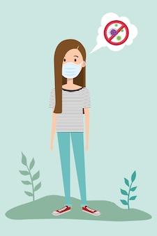 Женщина использует маску для пандемии covid19