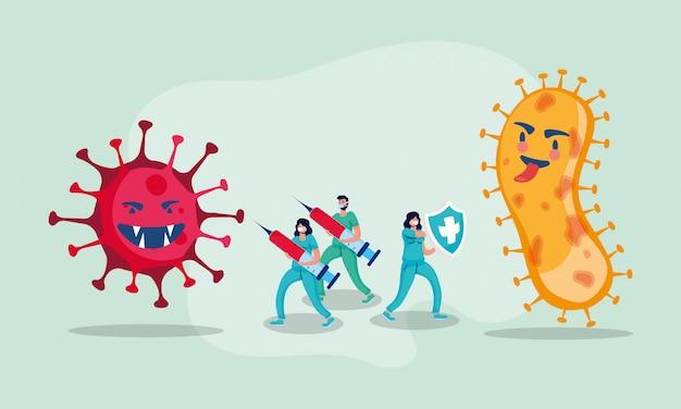 Covid19 пандемических частиц с врачами и вакцинами