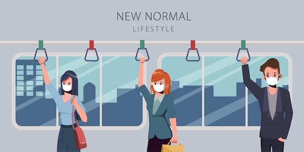 人々はcovid19の間にスカイトレインで社会的距離を置きます。毎日の新しい通常のライフスタイル。