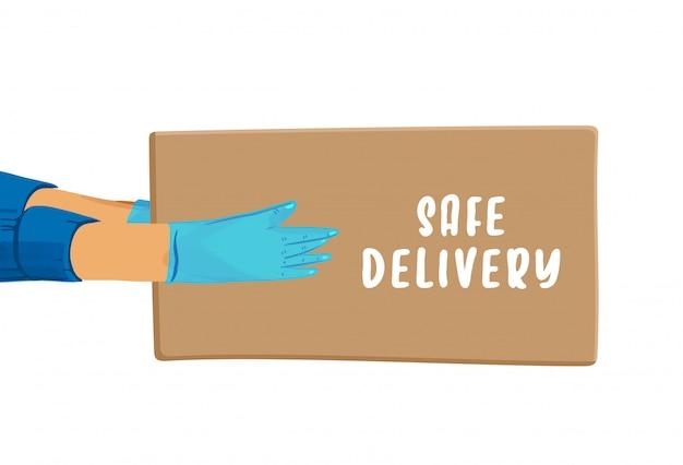 Covid検疫中に安全な配信漫画バナー。安全な配達のレタリングで小包を与える手袋の手