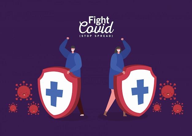 女と男のマスクと盾との戦いのcovidデザイン