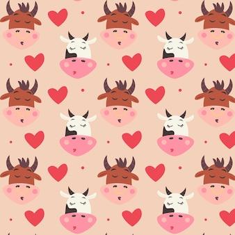 키스와 마음으로 암소와 황소 머리 패턴입니다. 귀여운 동물들이 있는 발렌타인 데이 디지털 종이. 연인을 위한 어린이용 반복 가능한 선물 포장. 베이지색 배경에 벡터 휴가 인쇄