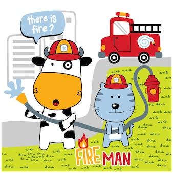 Корова и кошка пожарный смешной зверек мультфильм
