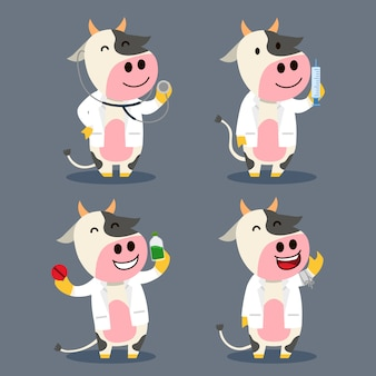 Cow as farm doctor flat character illustration