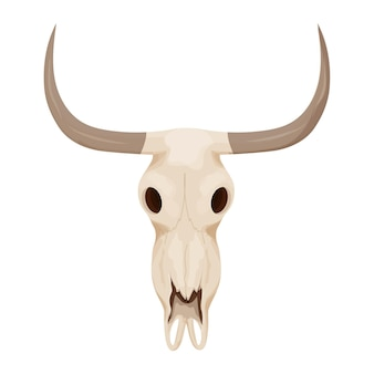 Cow bull skull in cartoon style isolated on white background stock vector illustration wild west c