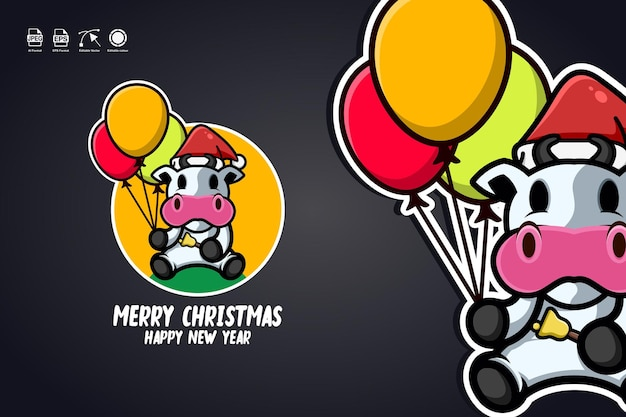 Cow carry balloons merry christmas