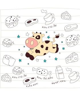 Cow cartoon doodle