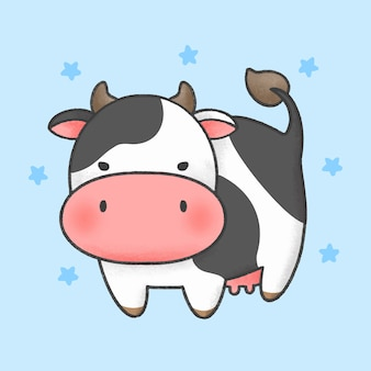 Cow cartoon hand drawn style