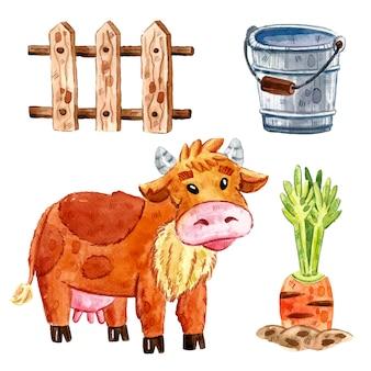 牛、牛の木製フェンス、ニンジン、バケツ。ファーム動物のクリップアート、要素のセット。水彩イラスト。