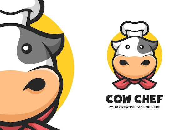 Cow chef cartoon mascot character logo template