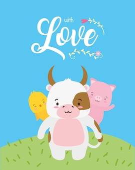 Cow, chick and piggy cute animals with love word, flat style