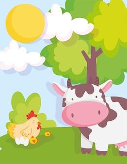 Cow chicken and chicks tree sky farm animals