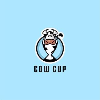 소 컵 로고 디자인 벡터