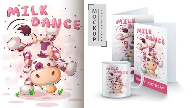 牛のダンスのイラストとマーチャンダイジング Premiumベクター