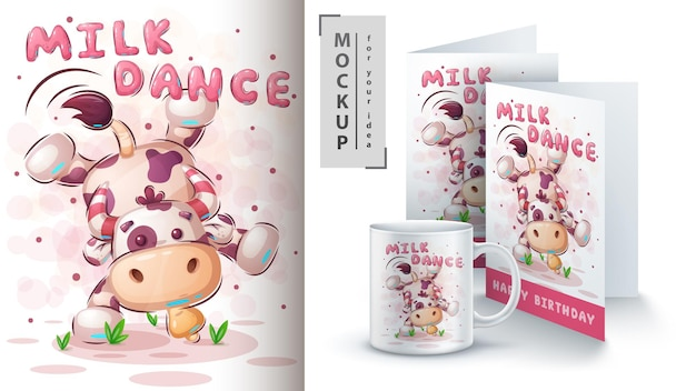Cow dance illustration and merchandising Premium Vector