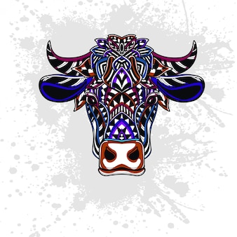 Cow decorated with abstract shapes