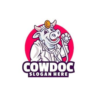 白で隔離される牛の医者のロゴ