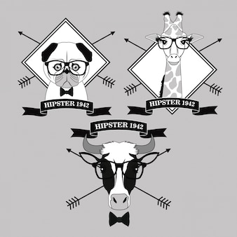 Cow dog giraffe glasses frame arrows