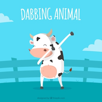 Cow doing dabbing movement