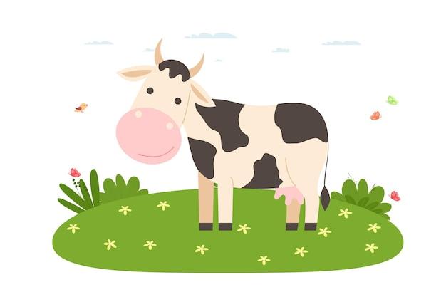 암소. 국내 및 농장 동물. 암소는 잔디밭에 서 있습니다. 만화 평면 스타일의 벡터 일러스트 레이 션.