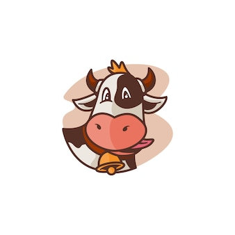Cow face mascot illustration