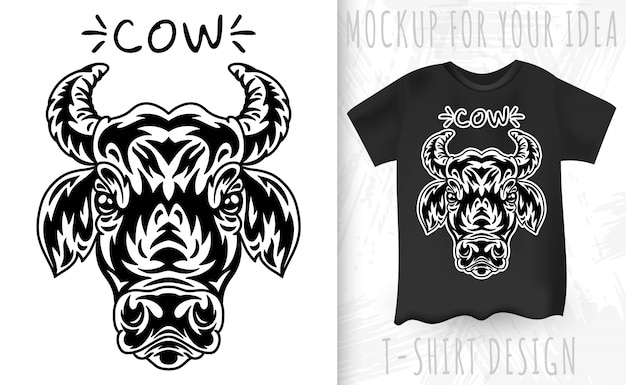 Cow face and t-shirt in vintage monochrome style