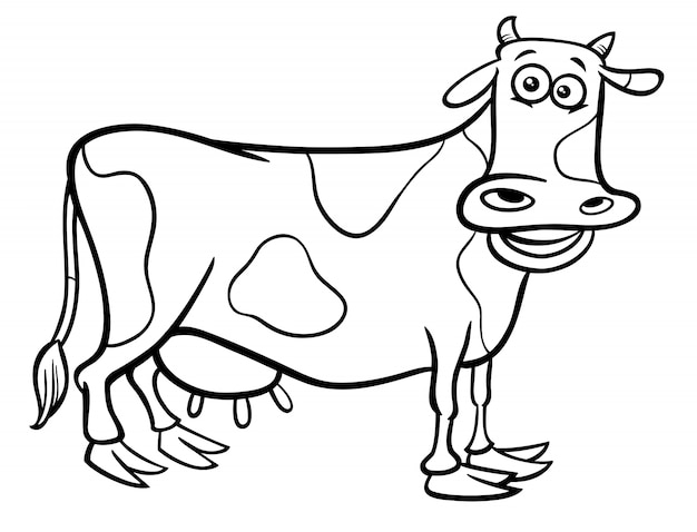 Cow farm animal character cartoon color book
