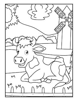 子供のための牛の農場の動物のぬりえ