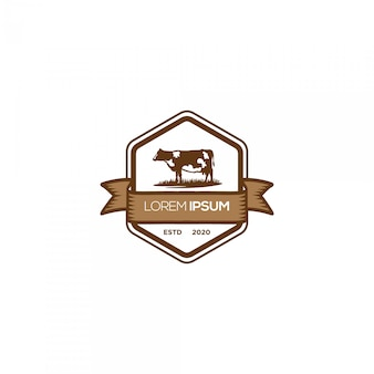 Cow farm emblem logo