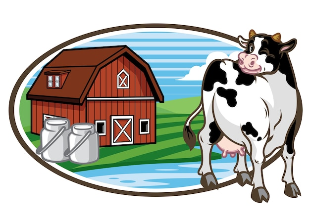 Cow and the farm land background