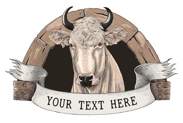 牛農場のロゴの手描きのヴィンテージ彫刻スタイルのクリップアートを白で隔離