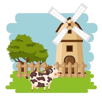 Cow in the farm scene