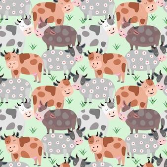 Cow in farm seamless pattern.