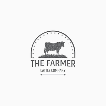 Cow farming logo template